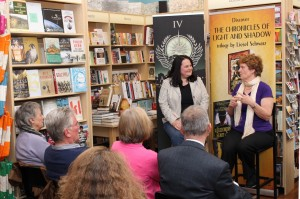 Alison and Liesel in conversation in front of the bookshop audience